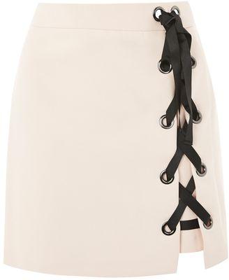 Topshop PETITE Eyelet Ribbon Mini Skirt