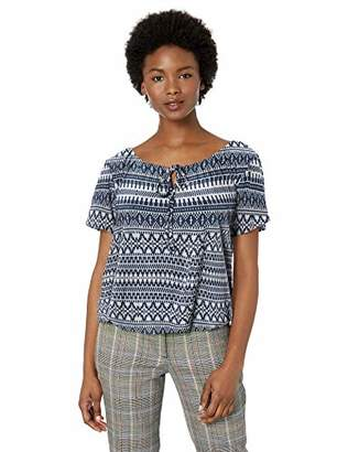 Star Vixen Women's Petite Short-SLV Keyhole-Tie Knit Peasant w Bubble Hem Top