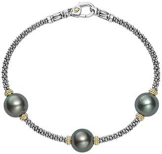 Lagos 18K Gold and Sterling Silver Luna Cultured Tahitian Pearl Triple Station Bracelet