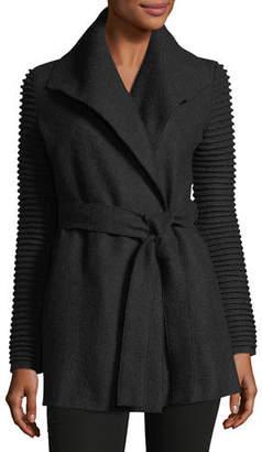Sentaler Superfine Alpaca Wrap Coat w/ Ribbed Sleeves