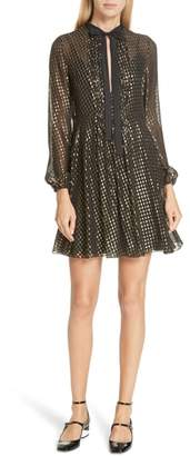 RED Valentino Metallic Polka Dot Silk Blend Minidress