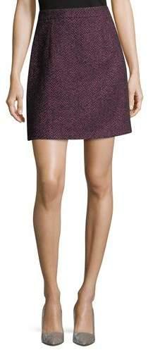 Michael Kors Collection Herringbone Tweed A-Line Miniskirt
