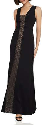 BCBGMAXAZRIA Lace-Inset Fit-and-Flare Gown
