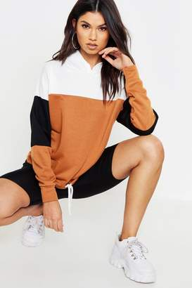 boohoo Colour Block Hooded Sweat With Draw String