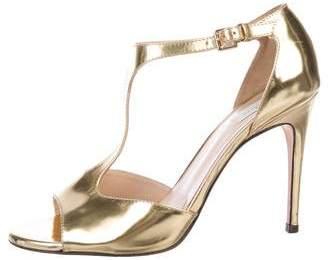 Max Mara Leather T-Strap Sandals