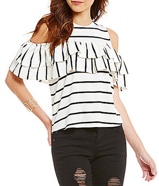 GB Striped Rib Knit Ruffled Cold Shoulder Top $44 thestylecure.com