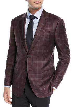 Emporio Armani Two-Button Windowpane Blazer, Burgundy