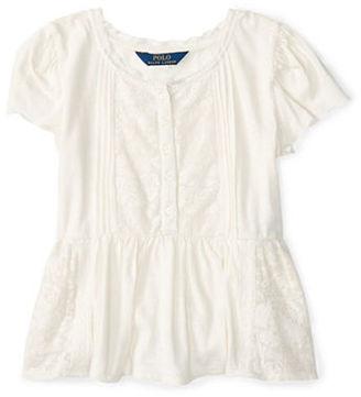 Ralph Lauren Childrenswear Girls 2-6x Cap Sleeve Cotton-Blend Top $39.50 thestylecure.com