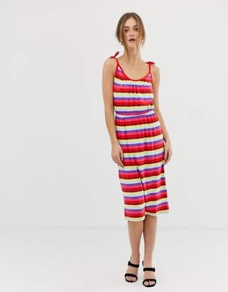 Warehouse Candy Stripe Jersey Midi Dress