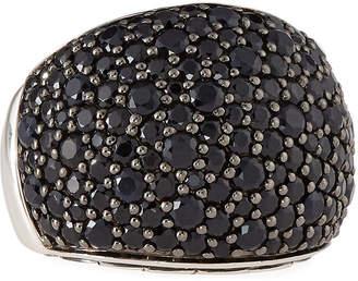 John Hardy Bedeg Silver Lava Pave Black Sapphire Ring, Size 7
