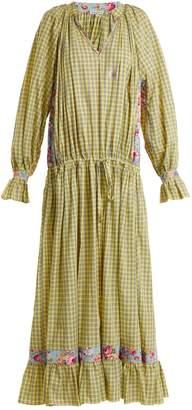 Natasha Zinko Checked dropped-waist cotton maxi dress