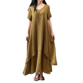 HEFEITONG Womens Dresses Pencil Skirts Women Womens Casual Daily Plus Size Short Sleeve Soild Splice Lace Long Dress
