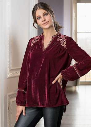 Together Embroidered Velvet Tunic Top