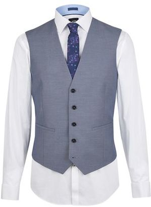 Mens Steel Blue Tailored Fit Waistcoat
