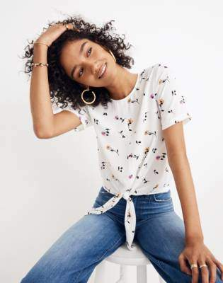 Madewell Button-Back Tie Tee in Sweet Blossoms