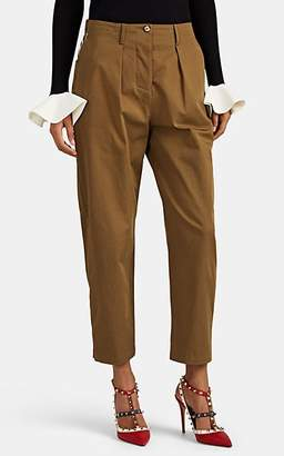 Valentino Women's Logo-Print Cotton Pleated Trousers - Brown