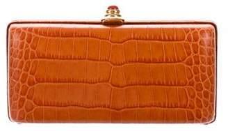 Oscar de la Renta Embossed Leather Box Clutch