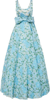 Luisa Beccaria Floral Satin Belted Gown