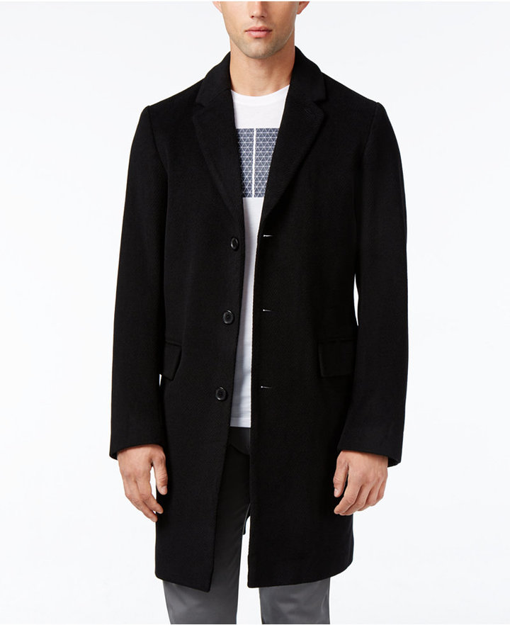 Armani Exchange Armani Exchange Men's Wool Blend Notch Collar Single Breasted Coat