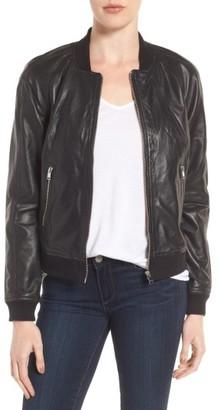 Women's Lamarque Darryl Leather Bomber Jacket $400 thestylecure.com