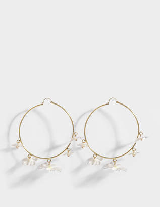 Anton Heunis White Flower Hoop Earrings in White and Crystal Metal