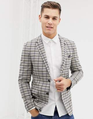 Burton Menswear regular fit wool blazer in camel check