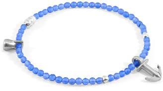 ANCHOR & CREW - Blue Agate Tropic Silver & Stone Bracelet