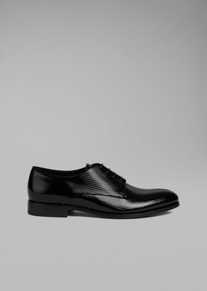 Giorgio Armani Patent Leather Derby With Micro-Chevron Print