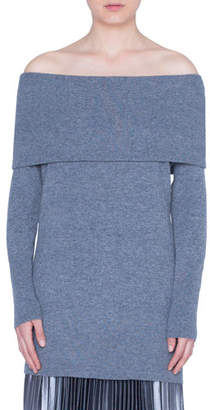 Akris Punto Carmen Off-the-Shoulder Wool-Cashmere Sweater