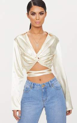 PrettyLittleThing Champagne Twist Front Collar Detail Satin Crop Top