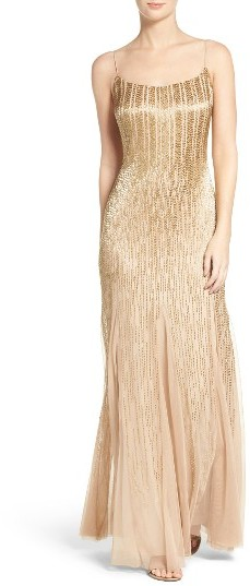 Adrianna Papell Women's Adrianna Papell Beaded Mesh Gown