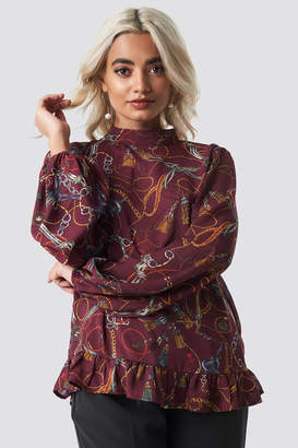 NA-KD Na Kd Bottom Frill Printed Blouse Burgundy