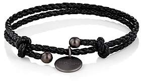 Bottega Veneta Men's Intrecciato Leather Double-Band Bracelet - Black