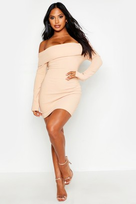 boohoo Scuba Rib Double Layer Bardot Mini Dress