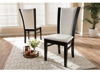 Baxton Studio Set of 2 Adley Modern and Contemporary Dark Brown Finished White Faux Leather Dining Chair Set