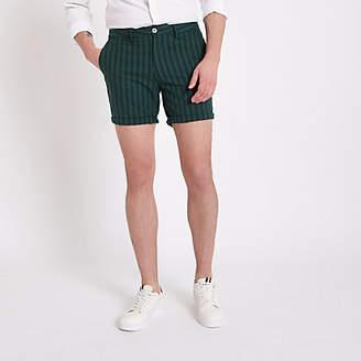 River Island Mens Green stripe slim fit chino shorts