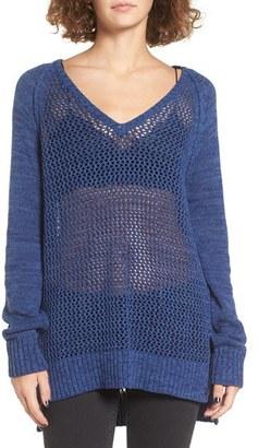 Women's Roxy Open Knit Cotton Pullover $49.50 thestylecure.com