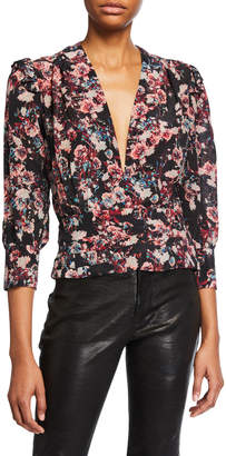 IRO Vulca Plunging Floral-Print Cropped Top