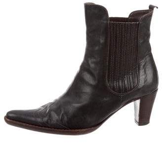 Henry Beguelin Leather Pointed-Toe Ankle Boots