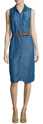 Splendid Sleeveless Belted Chambray Shirtdress $198 thestylecure.com
