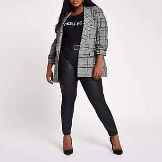 River Island Womens Plus Grey sequin check print blazer