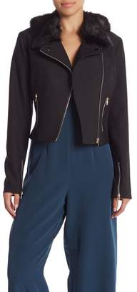 Lumiere Sophie Faux Fur Collared Moto Jacket