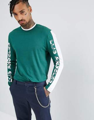 Asos Longline Long Sleeve T-Shirt With Color Block Text Print Panels And Tipped Rib
