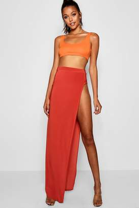 boohoo Tall Thigh High Split Maxi Skirt