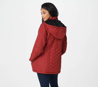 Susan Graver Quilted Zip Front Jacket with Removable Hood