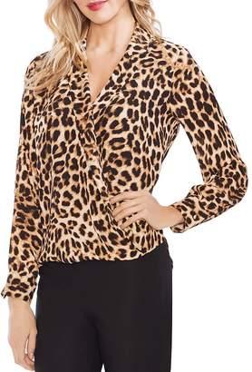 d1d4881e626 Vince Camuto Leopard-Print Faux-Wrap Blouse