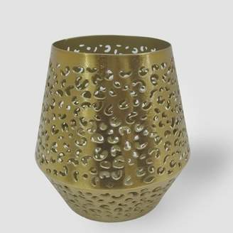 Opalhouse Perforated Leopard Print Outdoor Lantern Candle Holder Gold - Opalhouse