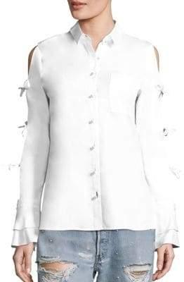 Jonathan Simkhai Tie-Sleeve Cotton Oxford Cold Shoulder Shirt