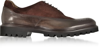 Fratelli Borgioli Ebony Leather and Suede Oxford Shoes