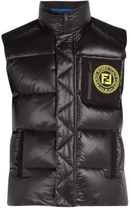 Fendi Logo Patch Quilted Gilet - Mens - Black Multi